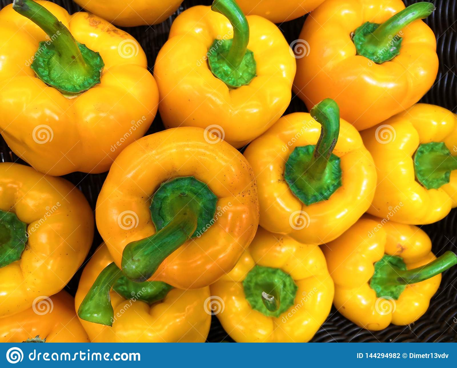 Fresh and healthy yellow peppers