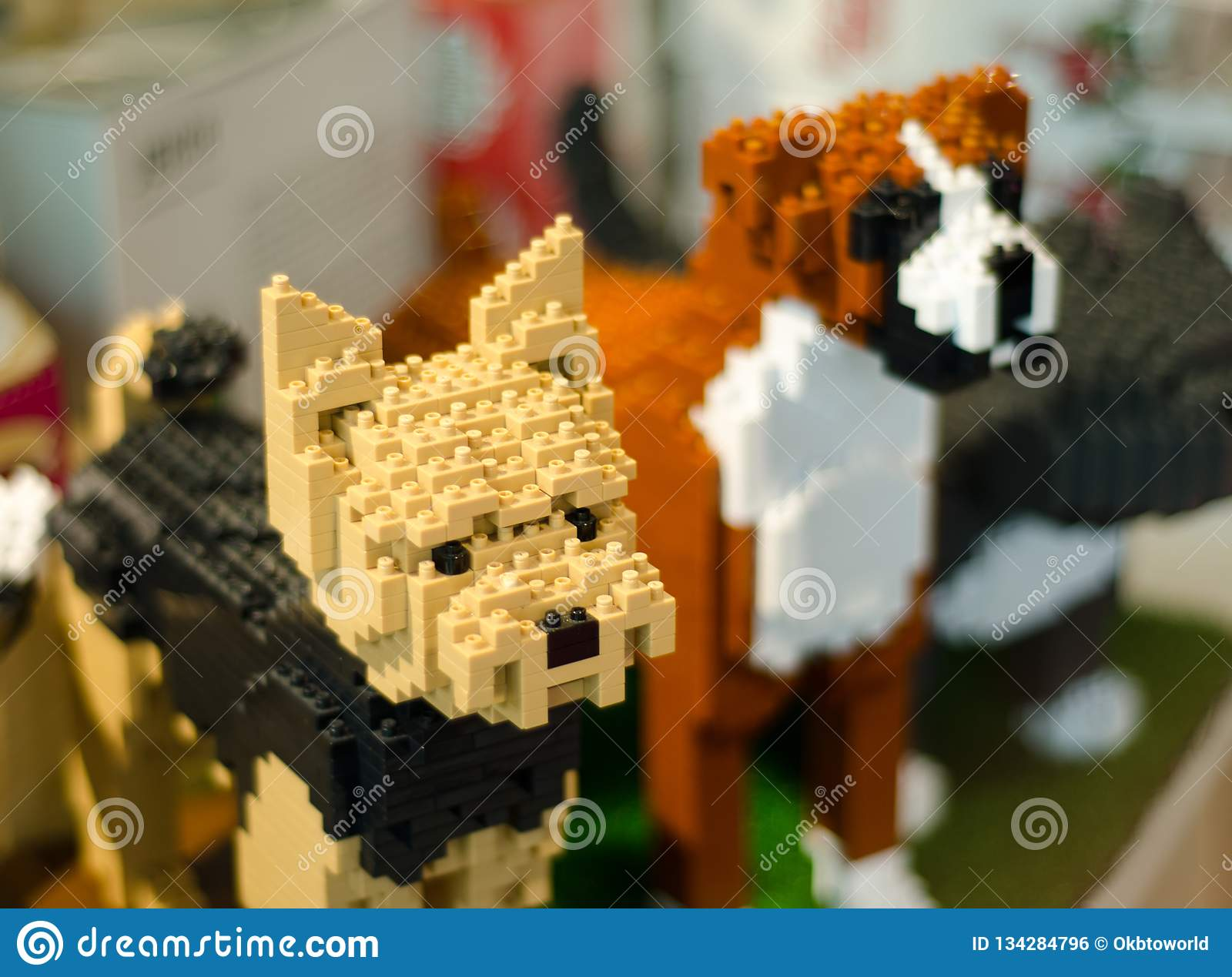 Close-up Lego two dogs.