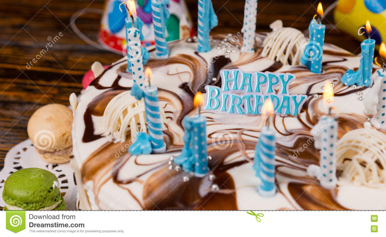 Close Up Of Lettering `happy Birthday` On Homemade ...