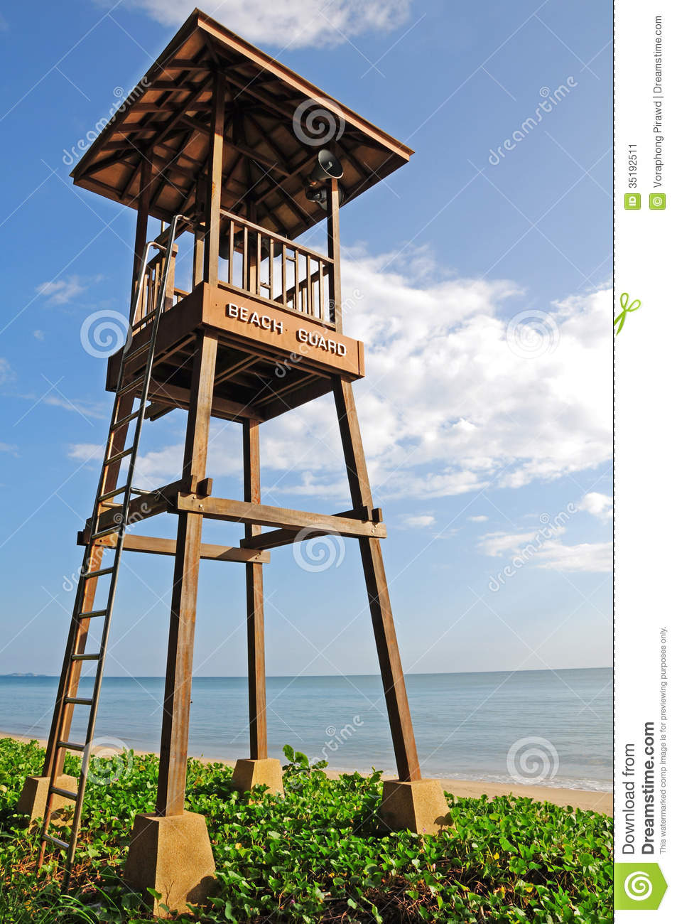 Close up lifeguard tower on the beach stock image image for Beach house tower plans