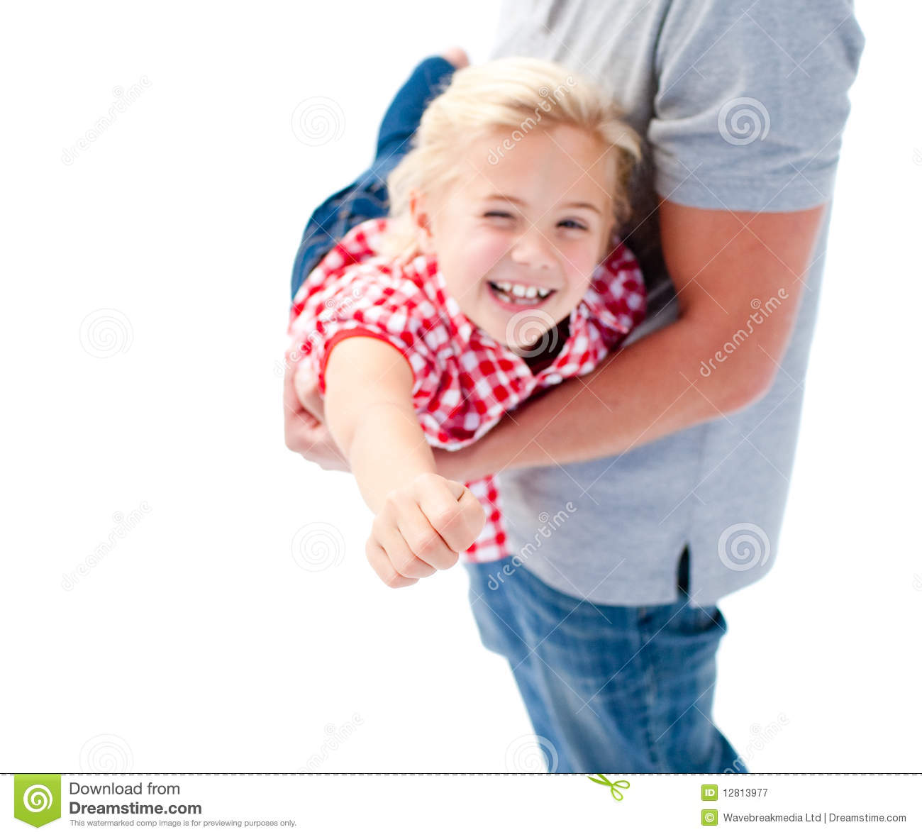 Close-up Of Little Girl Enjoying Piggyback Ride Stock