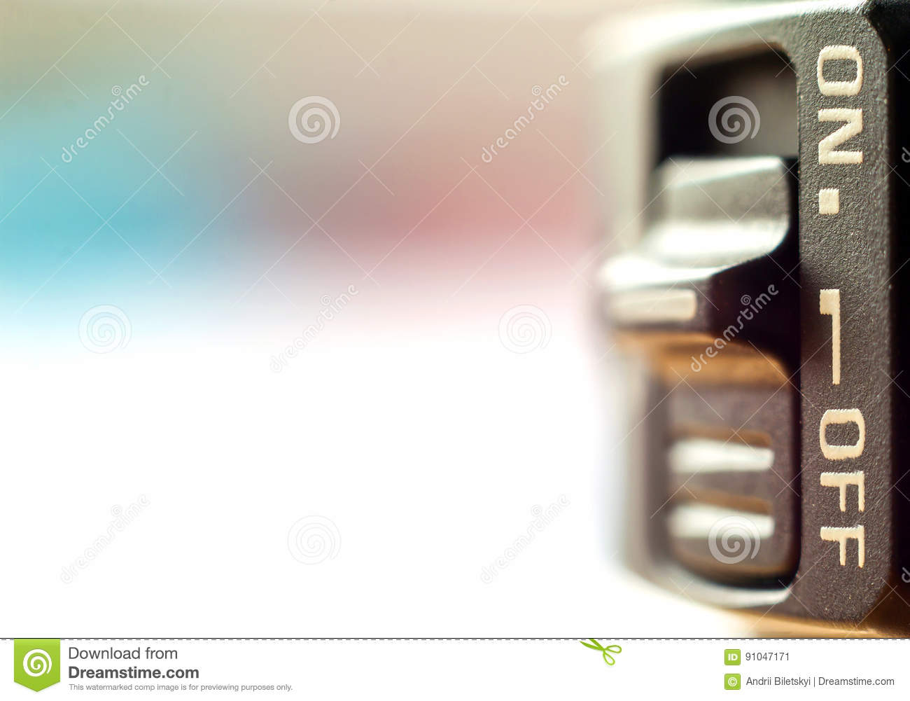 Close-up of little On/Off switch with soft blurred background