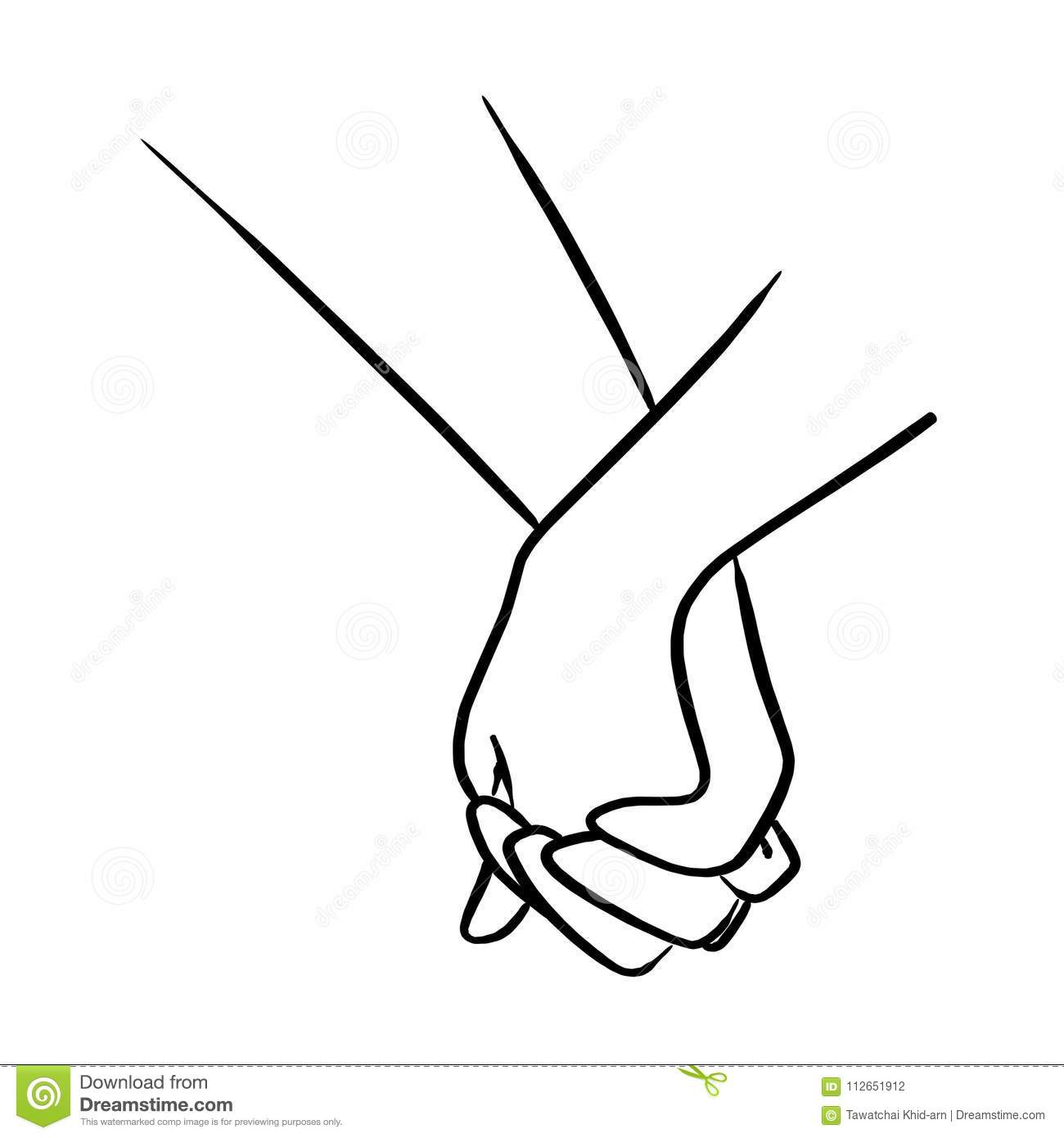 Close Up Lover Holding Hand Vector Illustration Sketch Hand Draw