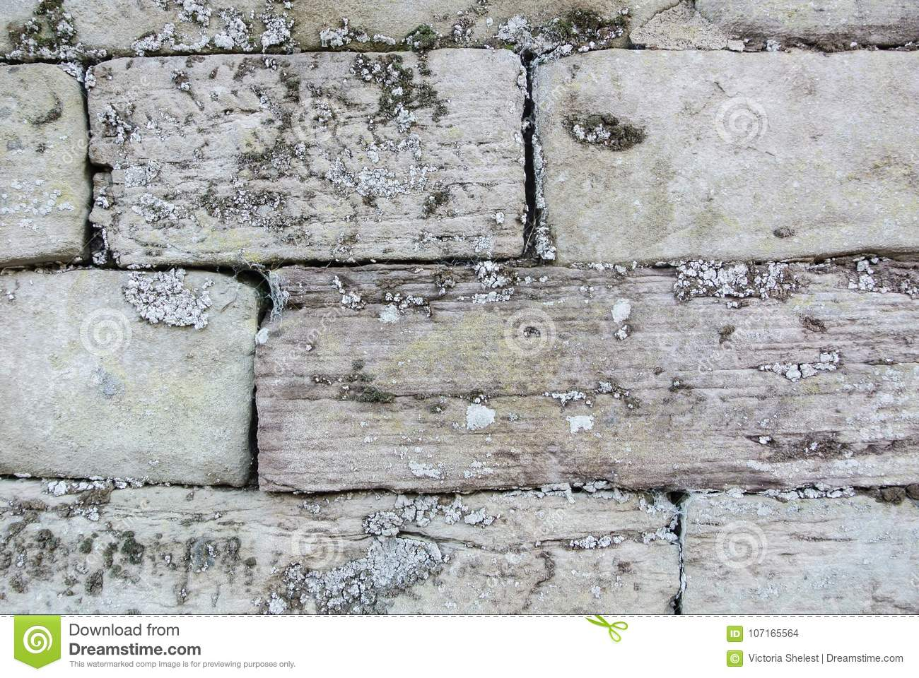 Close up macro background texture of old gray brick wall covered