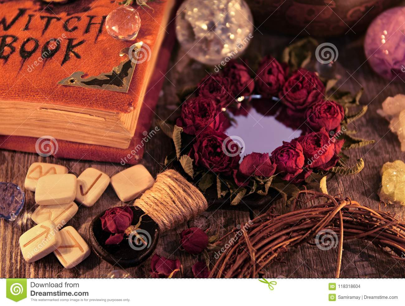 Close Up With Magic Mirror, Witch Book And Runes On The Table