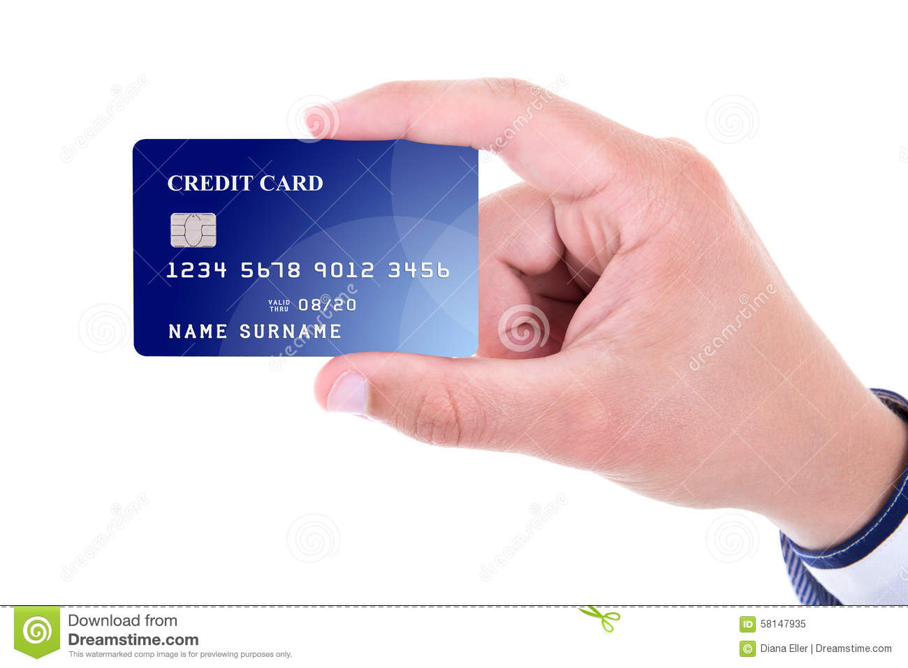 Close up of male hand holding plastic credit card isolated on wh