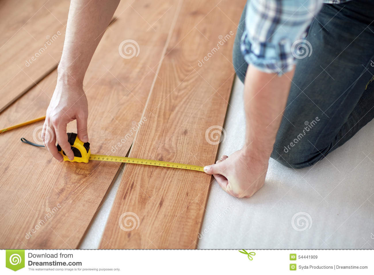 Close Up Of Male Hands Measuring Flooring Stock Image Home Professional
