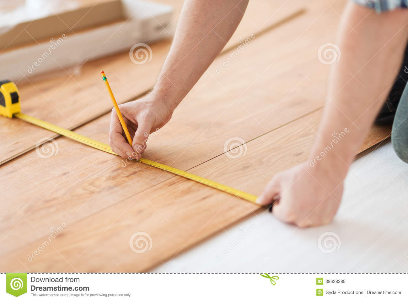 Close Up Of Male Hands Measuring Wood Flooring Stock Image Closeup