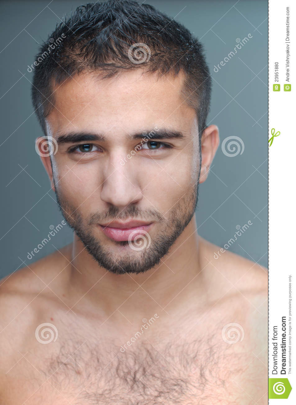 Close up of a male model