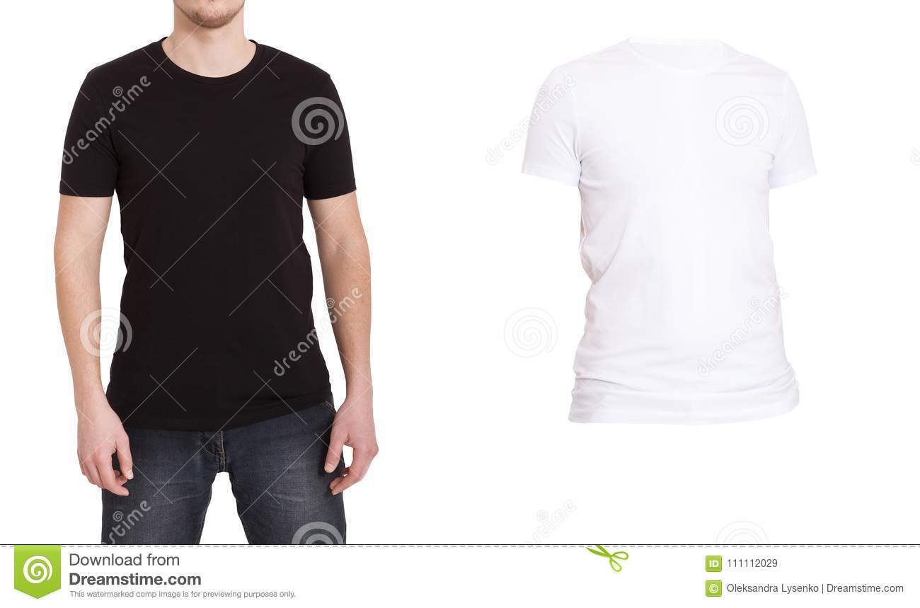 Close Up Of Man In Blank Black And White T Shirt Isolated On