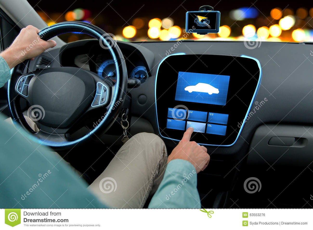 Car Pcm: Close Up Of Man Driving Car With On Board Computer Stock