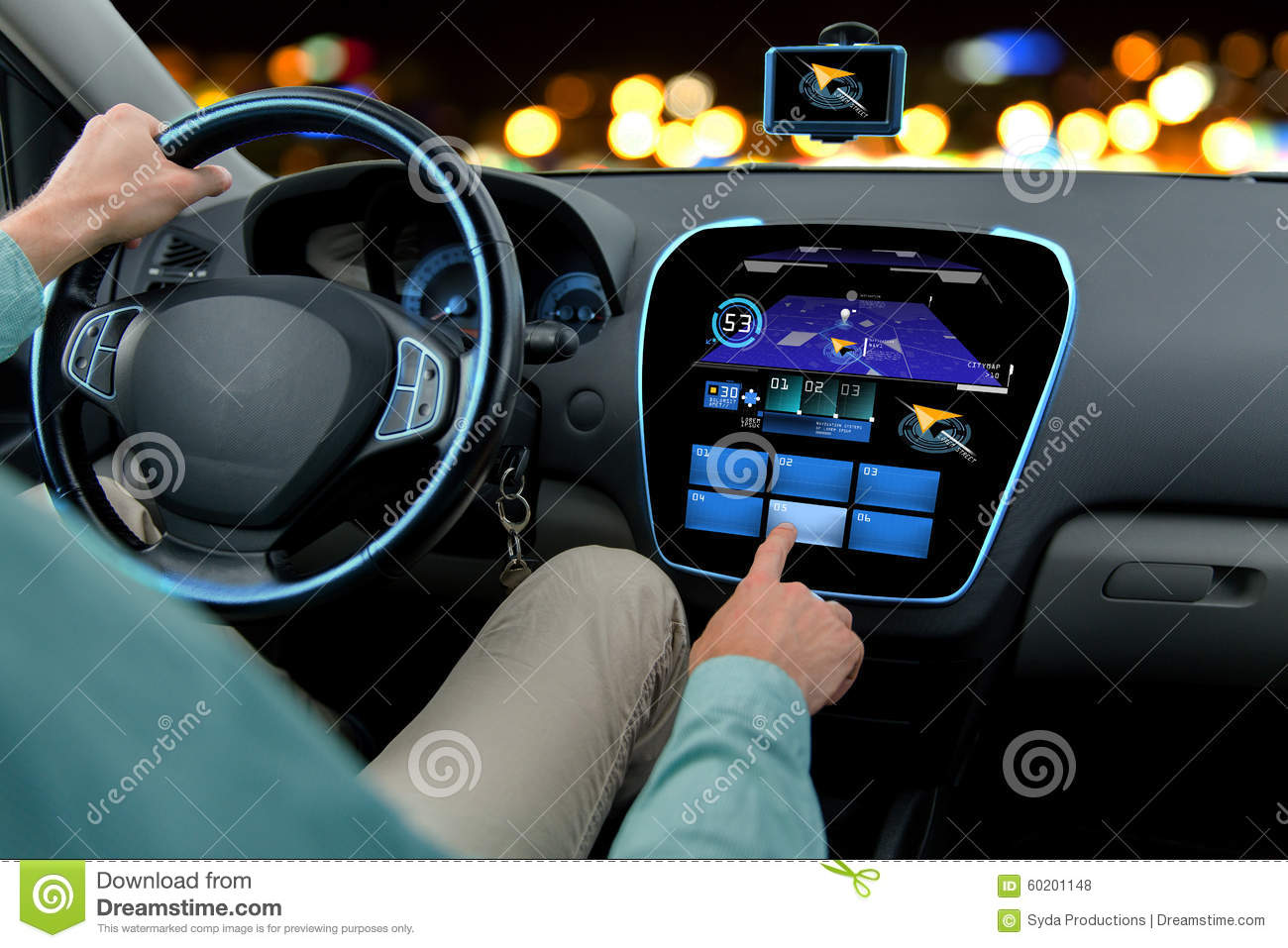 Automotive Navigation System : Close up of man driving car with navigation system stock