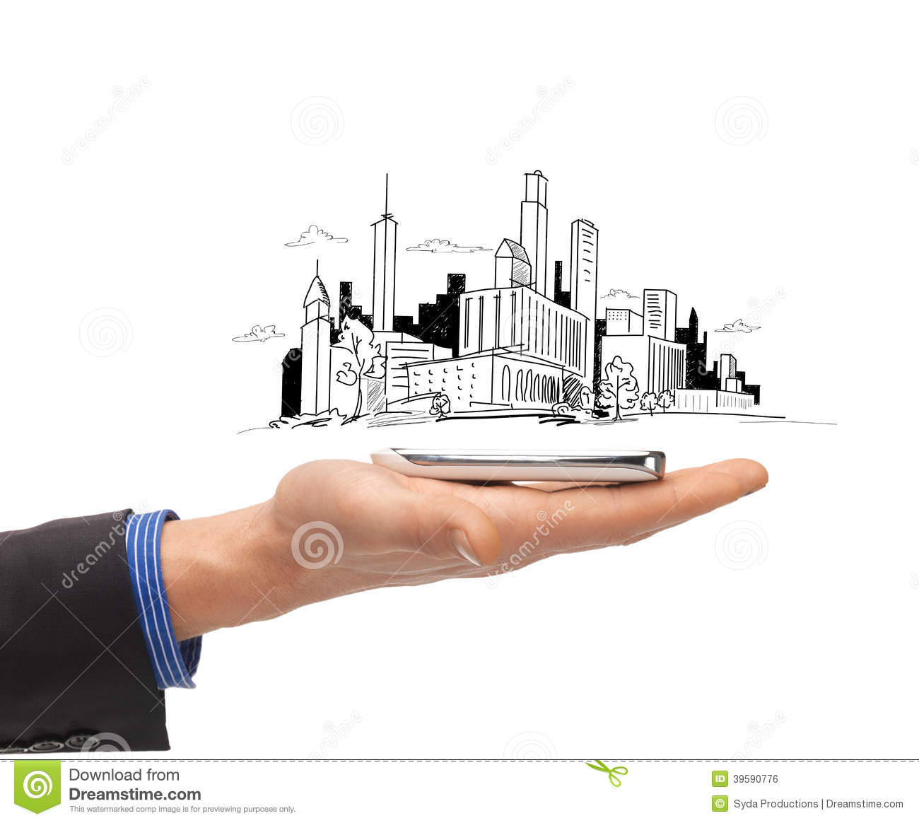 Close up of man hand with smartphone city sketch stock for Architectural engineering concepts