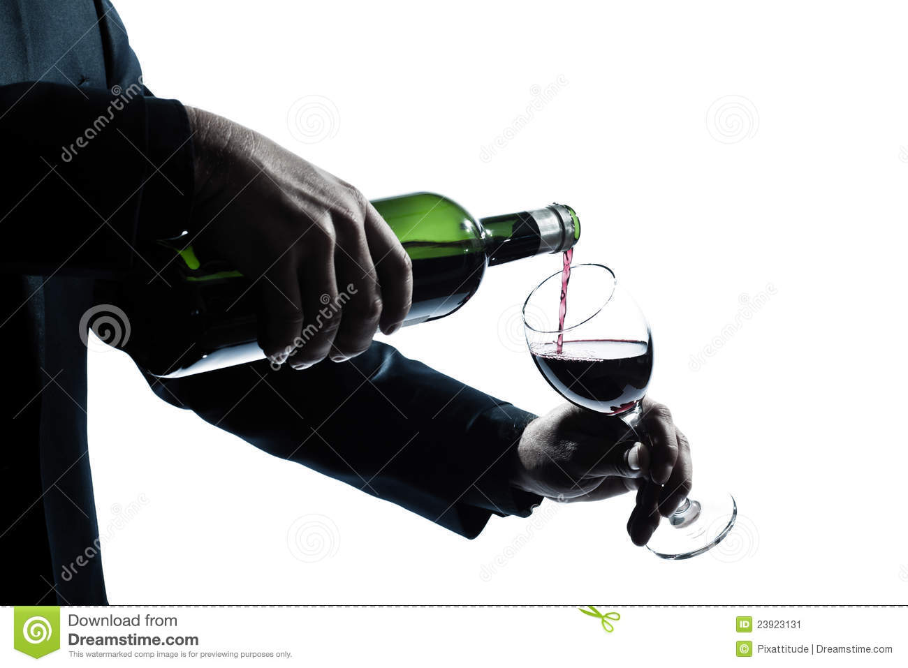 Close up man hands pouring red wine in a glass