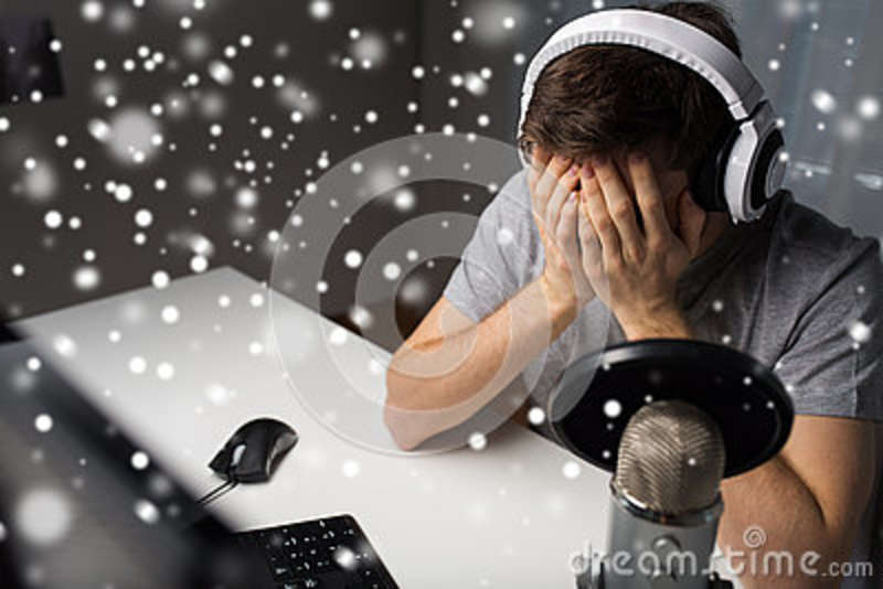 Close Up Of Man Losing Computer Video Game Stock Image