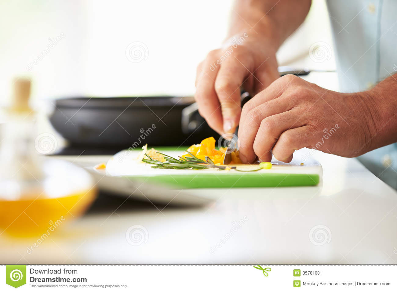 Close Up Of Man Preparing Ingredients For Meal Stock Image