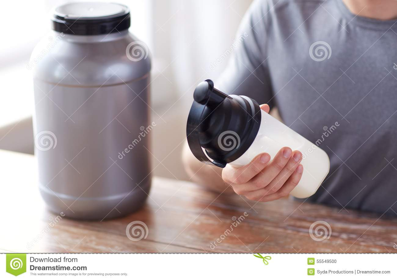 Healthy Nutrition. Man Preparing Protein Shake. Food