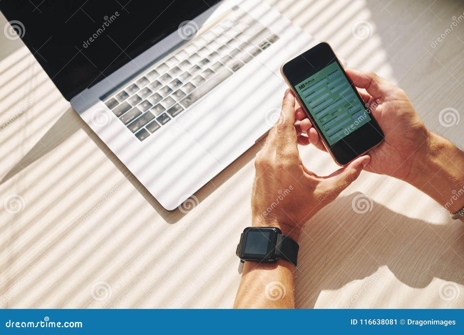 Online bank in phone