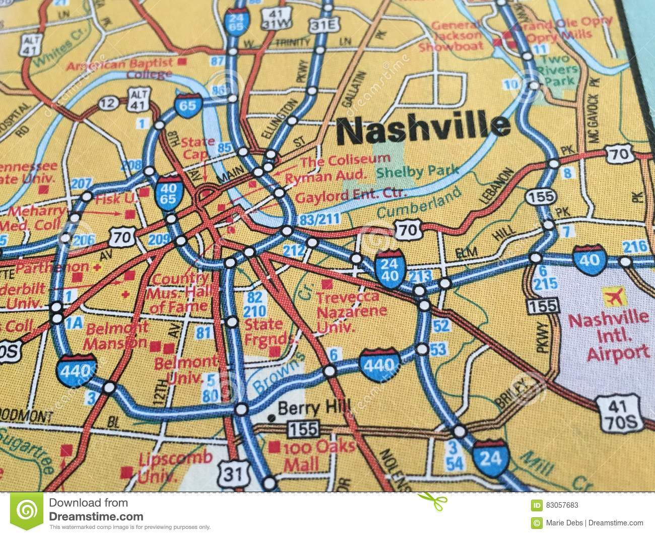 This is a graphic of Persnickety Printable Map of Nashville