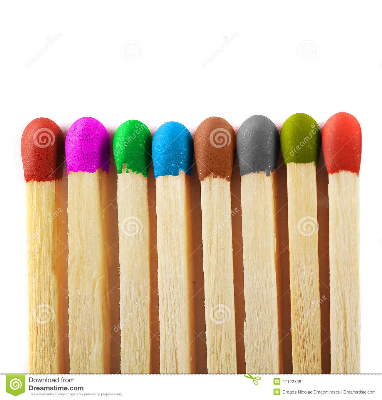Close up of matches of different colors