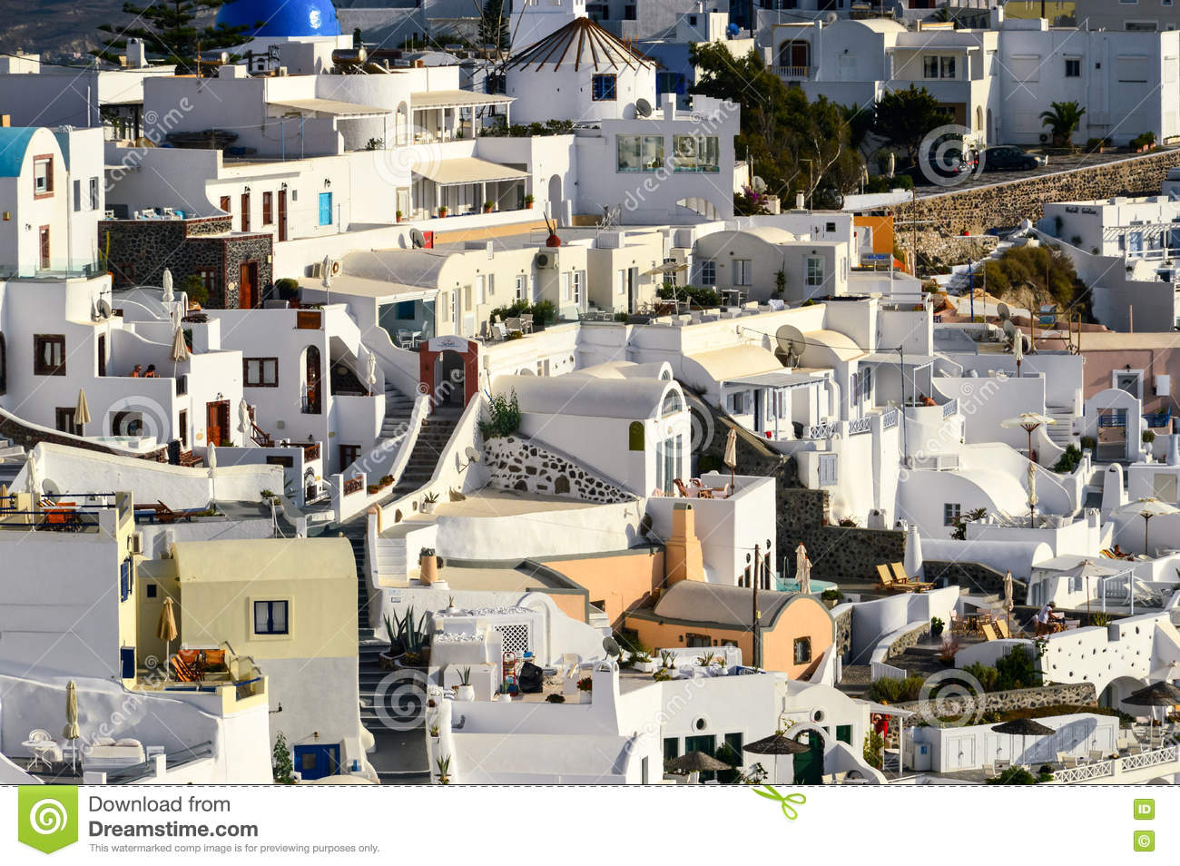 A close up of the mazy streets of Thira, the main town of the is