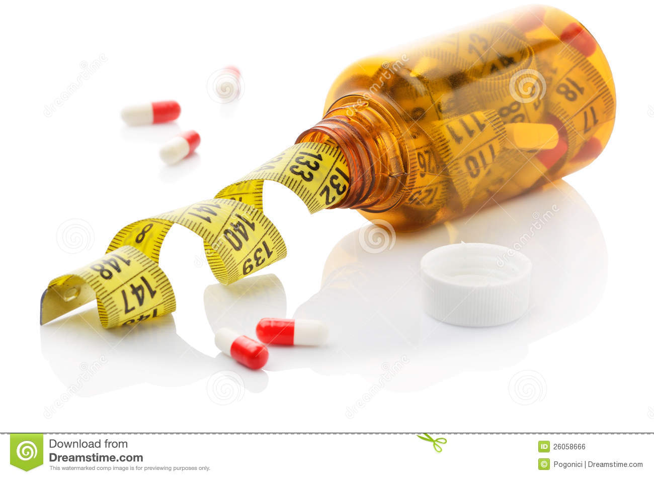 Close up of measuring tape in a pills bottle
