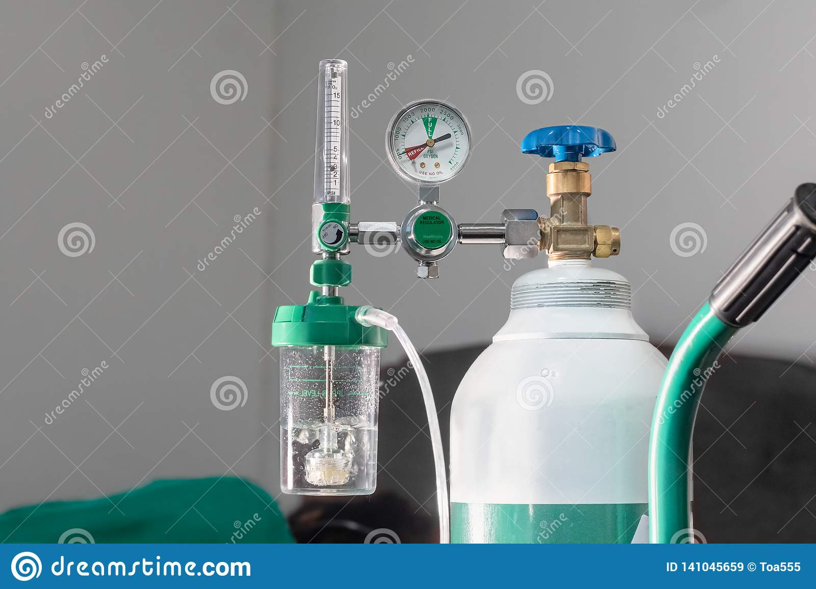 Close-up Of Medical Oxygen Flow Meter Shows Low Oxygen Stock Image