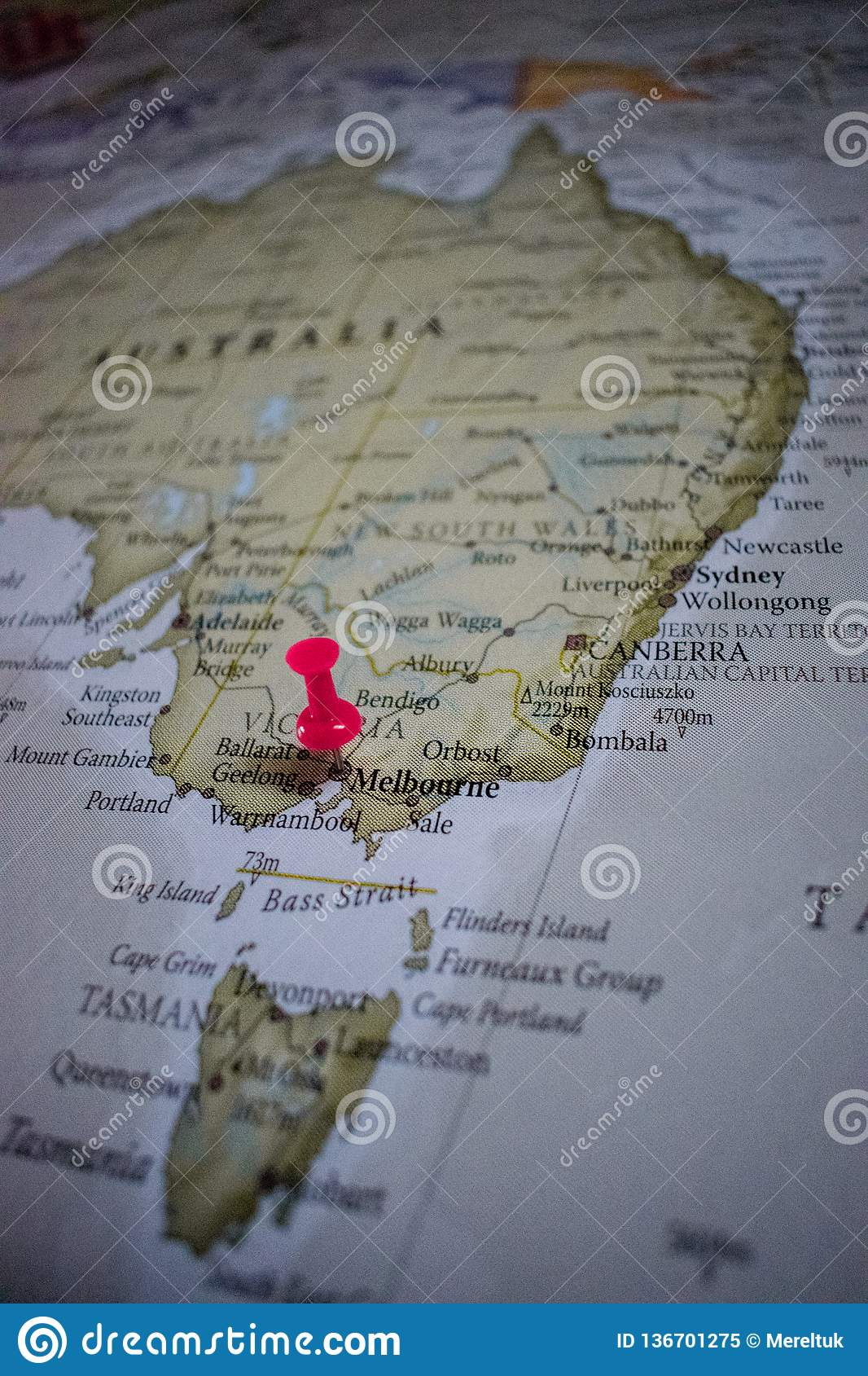 Melbourne Australia World Map.Close Up Of Melbourne Pin Pointed On The World Map With A Pink