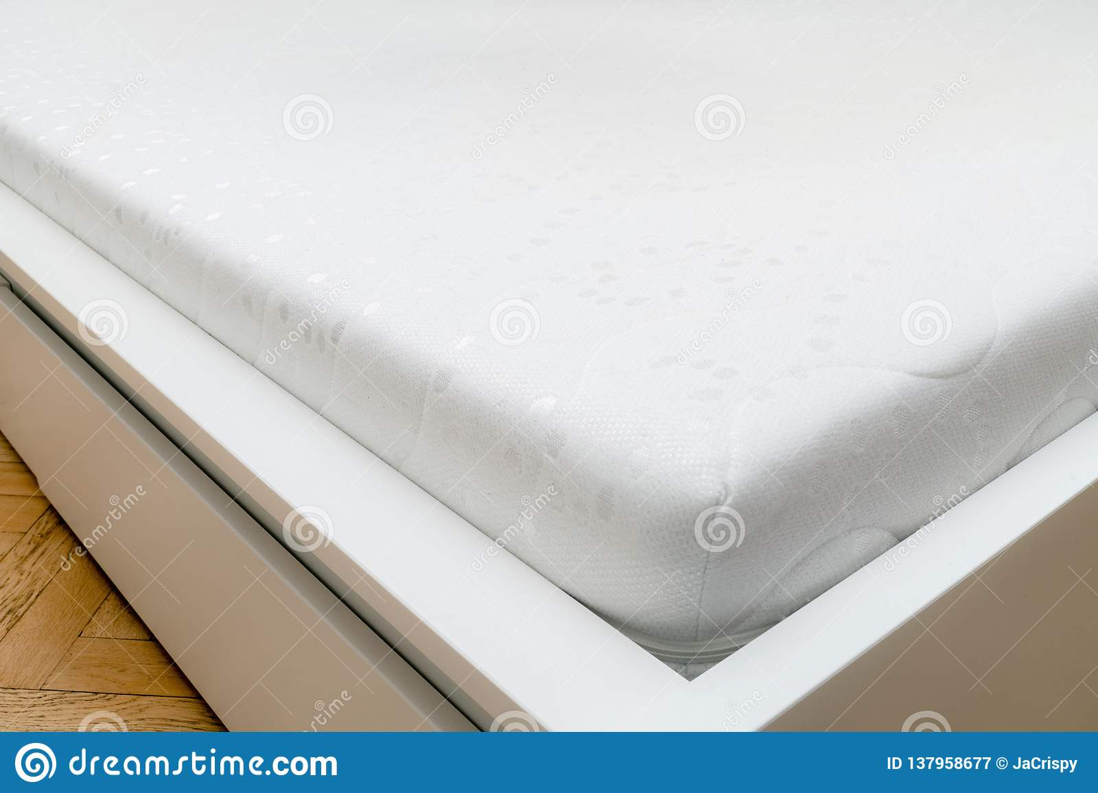 Close Up Of Memory Foam Mattress On The Bed Frame At Sleeping Room Comfort Choosing Mattress Stock Image Image Of Foam Close 137958677