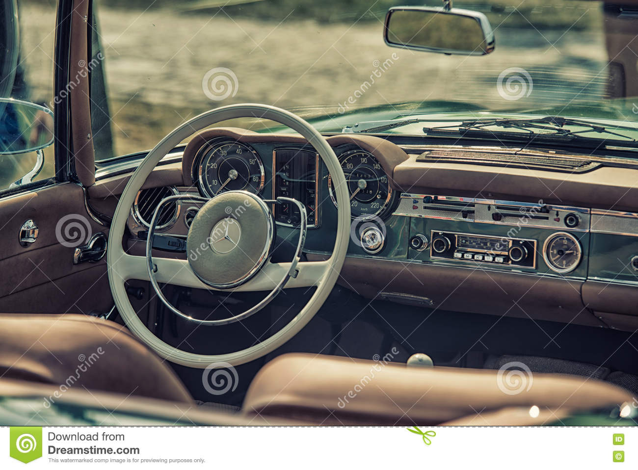 Close Up On Mercedes Vintage Car Steering Wheel And Cockpit