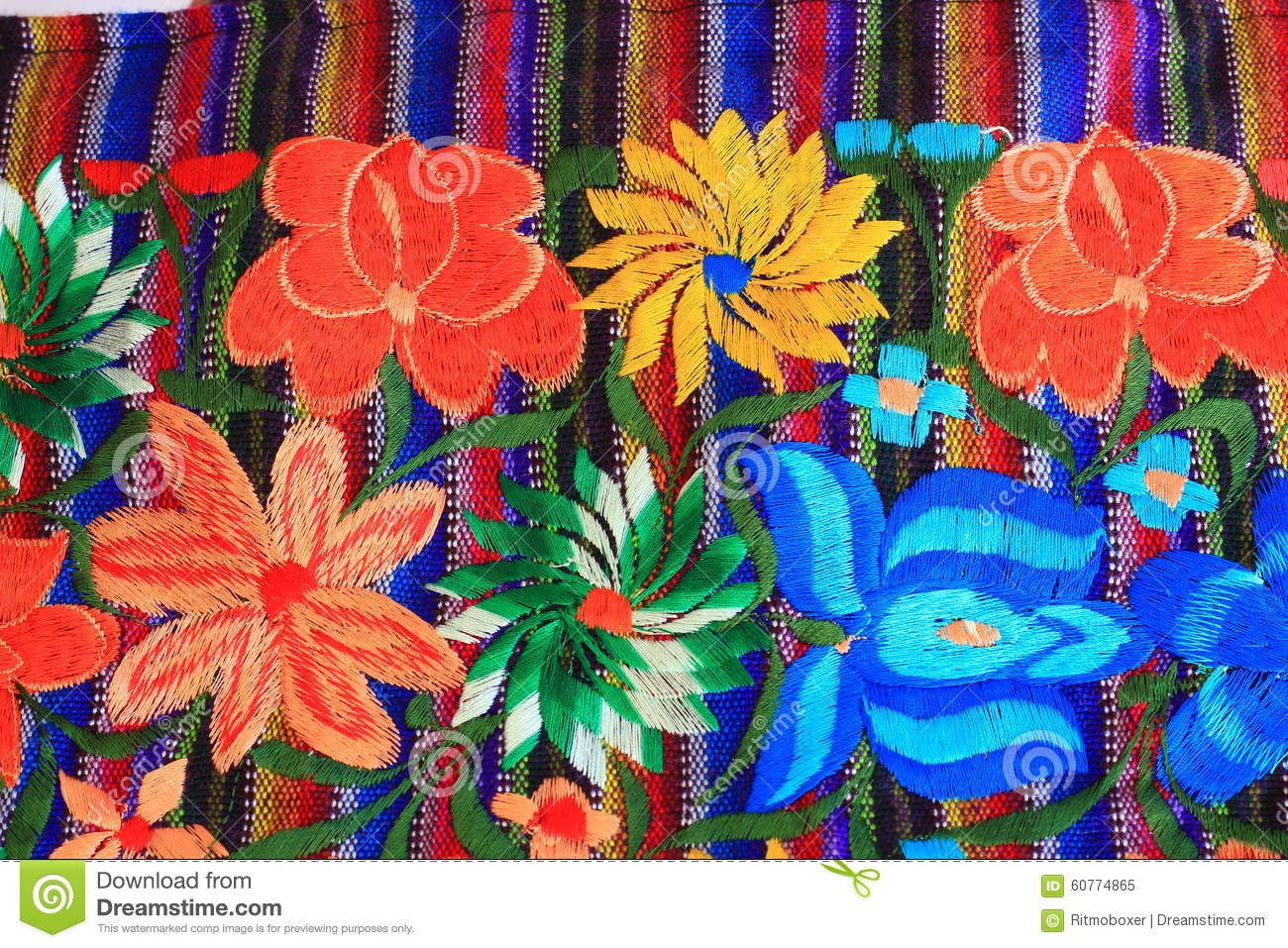 Close up of mexican embroidery design stock image