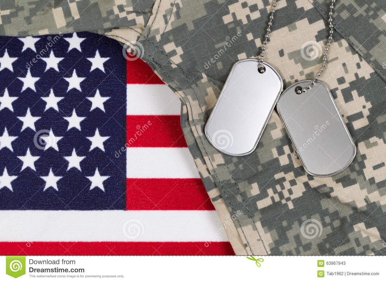 00a7ff296d65 Flag of the United States of America with military identification tags,  neck chain, and combat uniform top. Military service concept.
