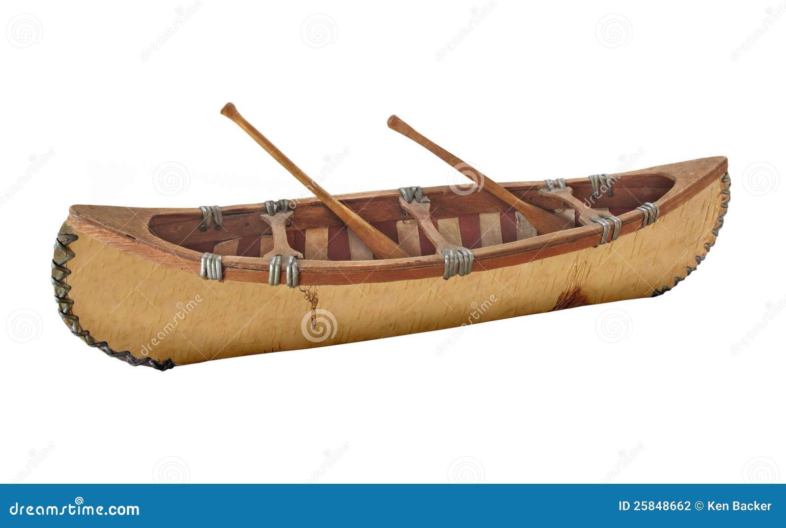 Close-up Of A Miniature Birch Bark Canoe Isolated. Stock Photo - Image: 25848662