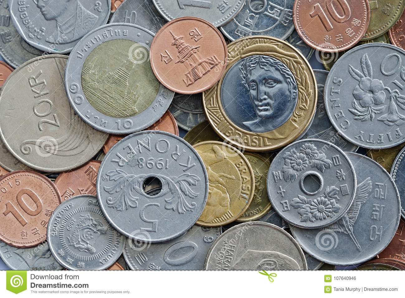Close Up Of International Coins Stock Photo - Image of