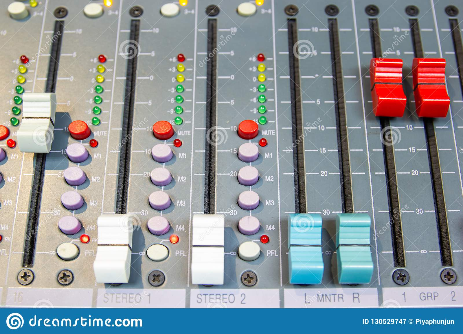 Close up Mixing Console of a big HiFi system, The audio equipment and control panel