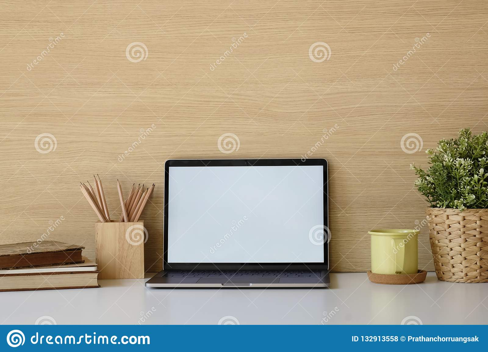 Close Up Mockup Laptop On White Table Books Coffee Pencil In