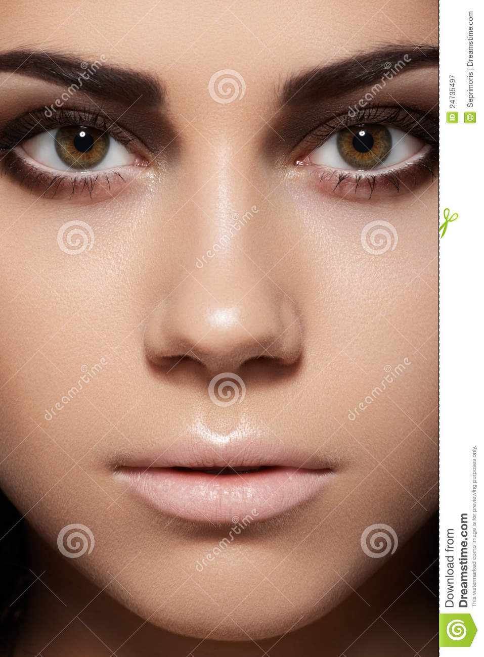 Close Up Of Model Face With Eye Makeup Clean Skin Stock Image