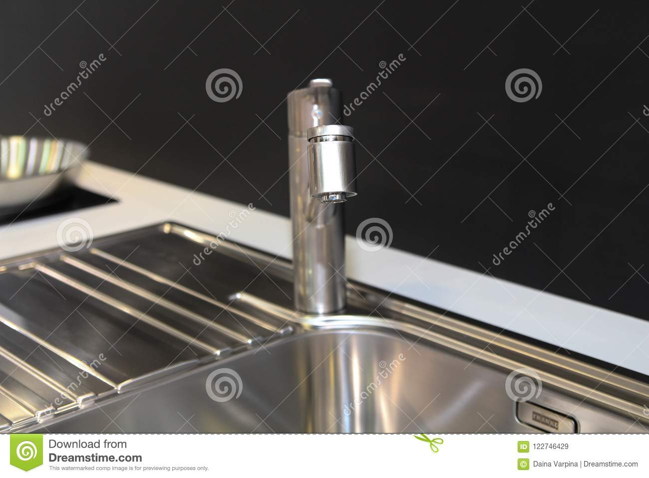 Monochrome Kitchen Detail. Close Up Of Modern Kitchen Faucet And ...