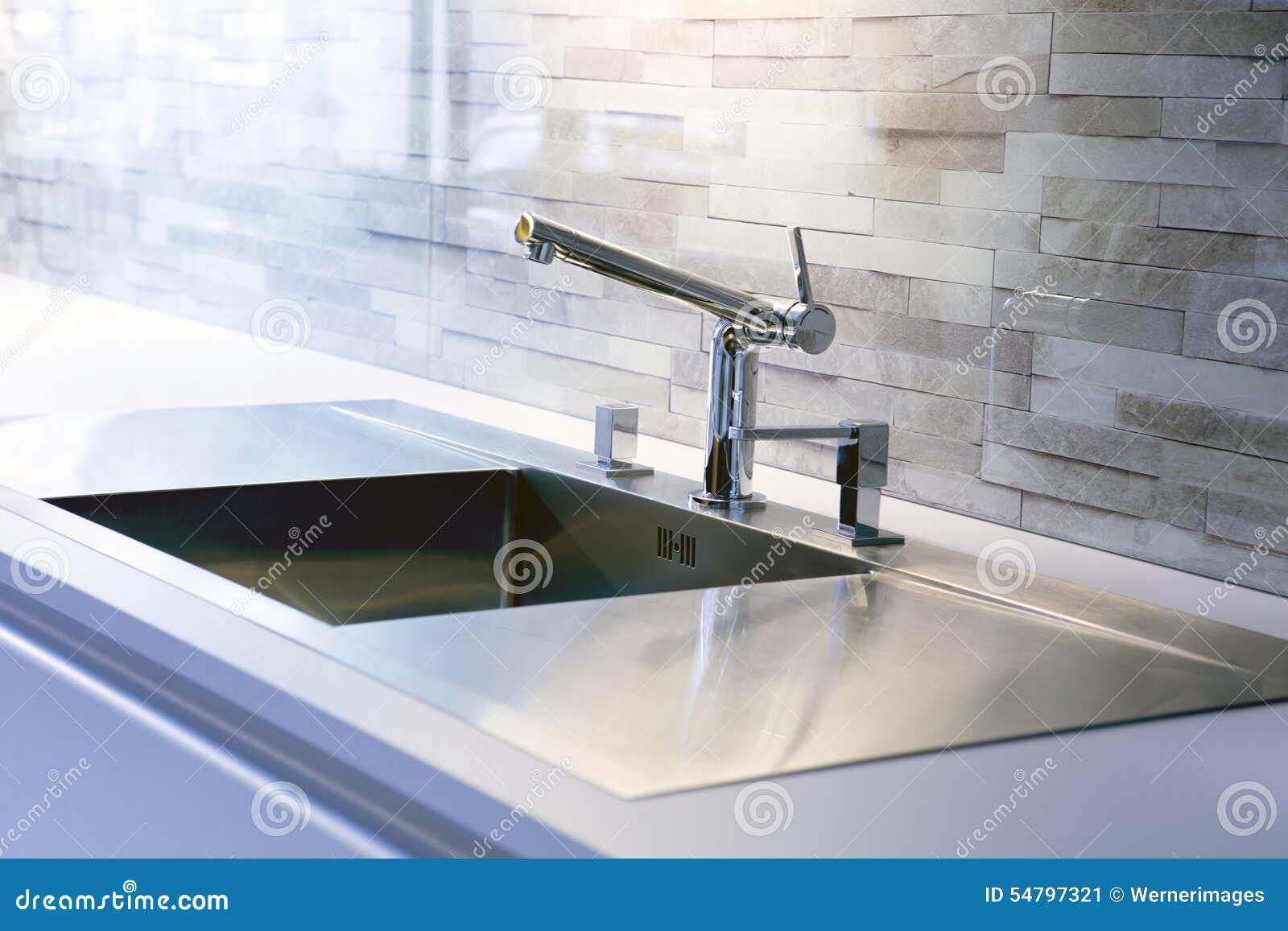Modern kitchen counter close up - Close Kitchen Modern Sink Stainless Steel Closeup