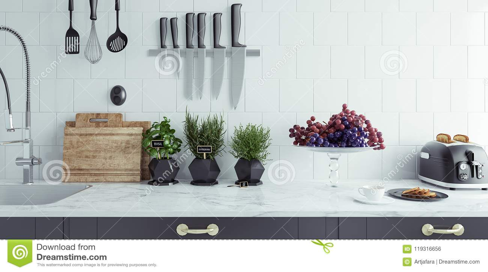 Close-up moderno do interior da cozinha