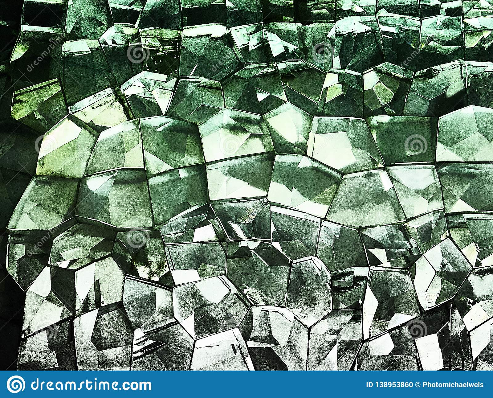 Green colored glass pattern design