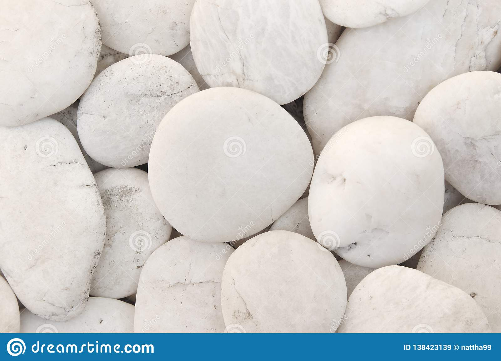 Close Up Natural White Pebbles Texture Of Decorative Stone