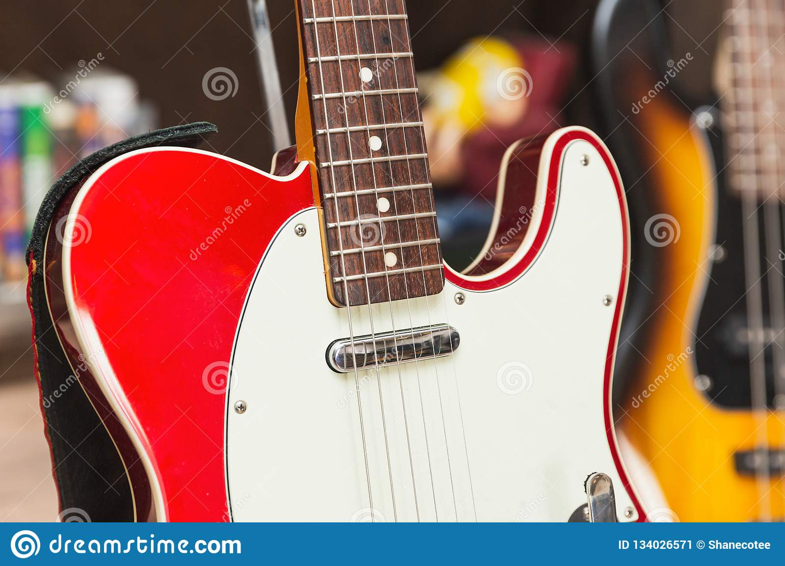 Details Of Classic Red And White Electric Guitar Stock Image