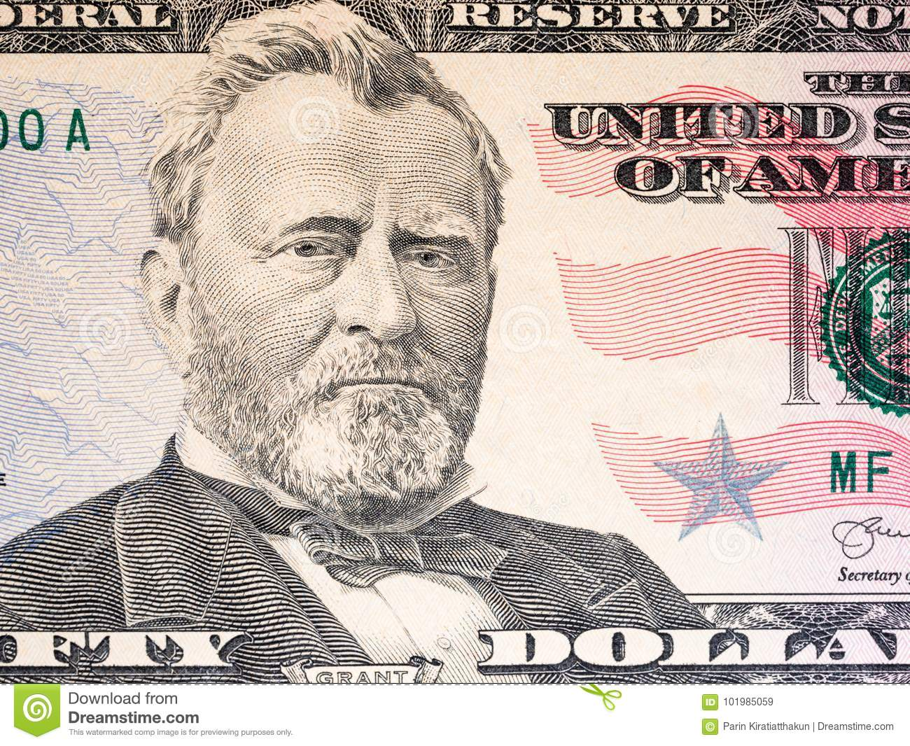 Close up of new 50 dollar bill.