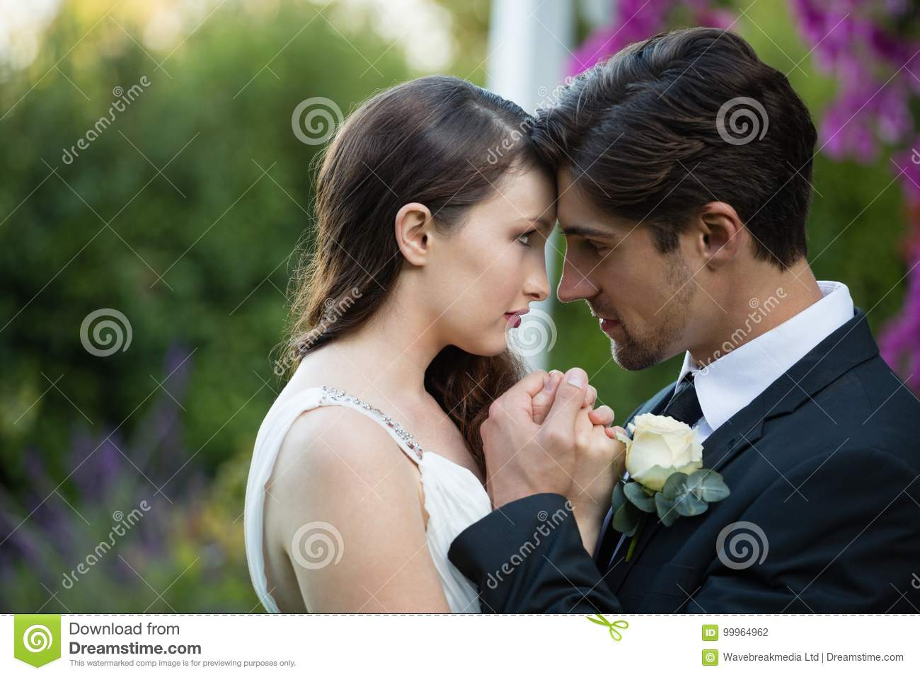 close up of newlywed couple romancing in park stock photo image of