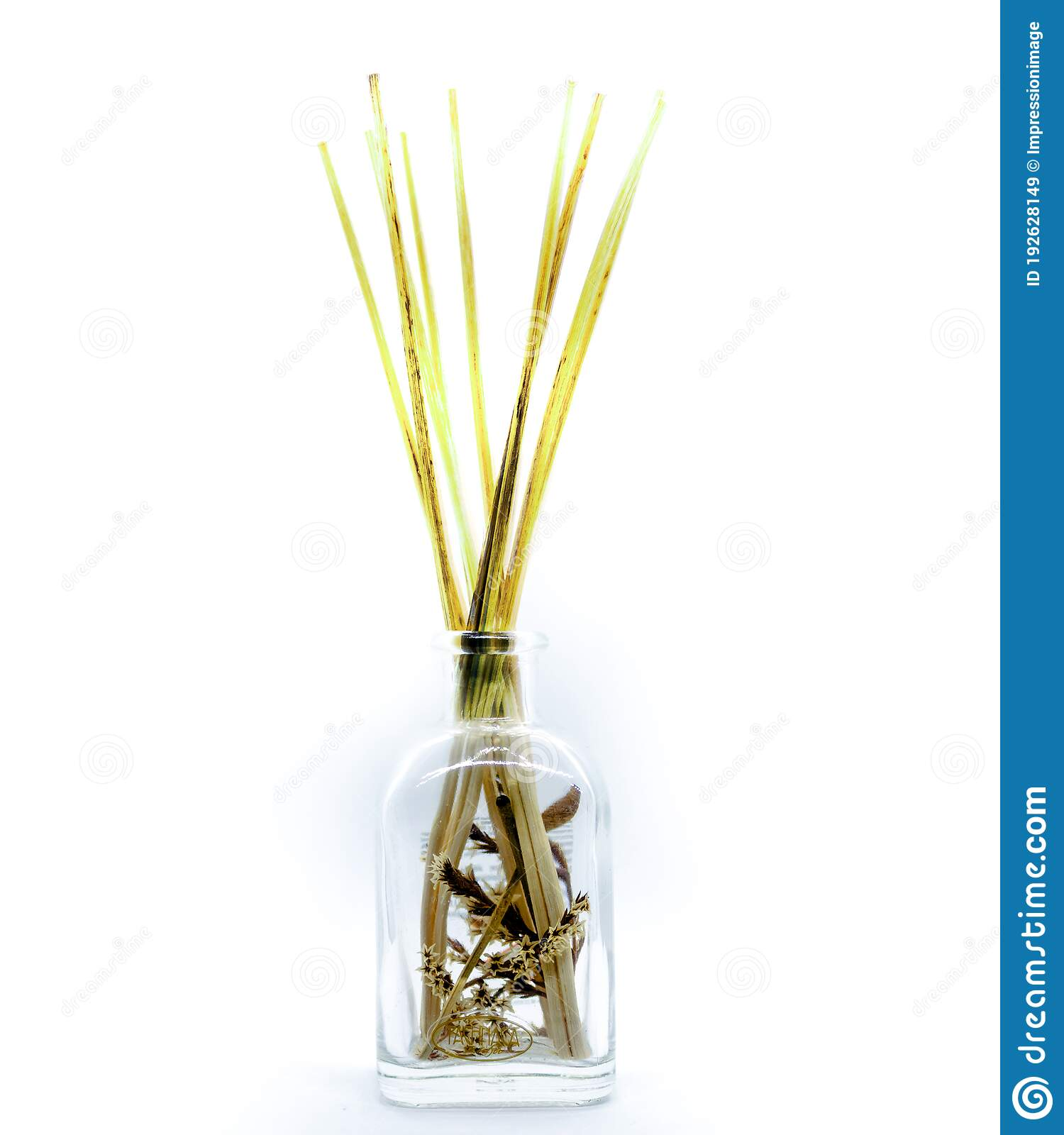 Close Up Of An Object With Wood Sticks In Liquid For Home Fragrance Or No Fire Aroma Diffuser With Sticks Stock Image Image Of Products Background 192628149