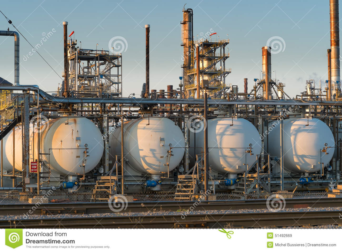 Close Up Of Oil Refinery At Sunset Stock Photo - Image: 51492669