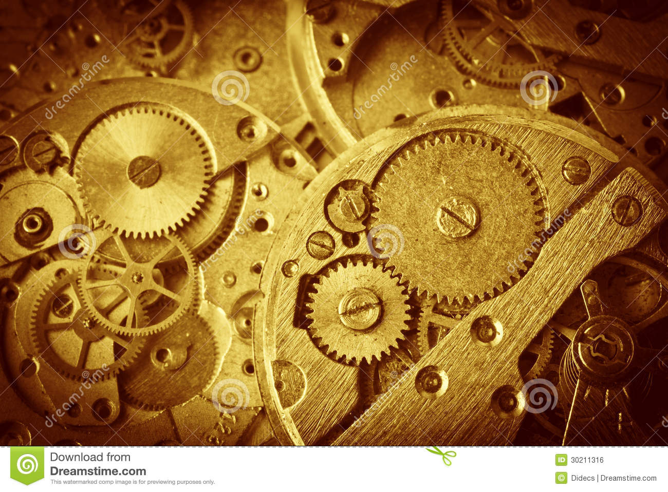 Old Clock Gears : Close up of old clock mechanism with gears stock photo