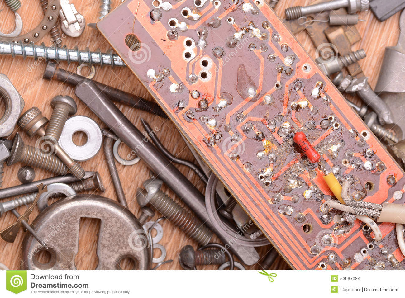 Close Up Of Old Computer Circuit Board Stock Photo Image Abstract Background With