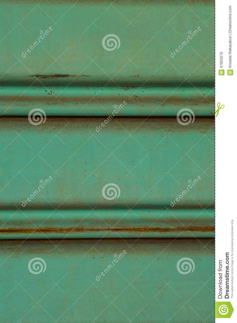 Close up of old and dirty corrugated of mint metal sheet slide d